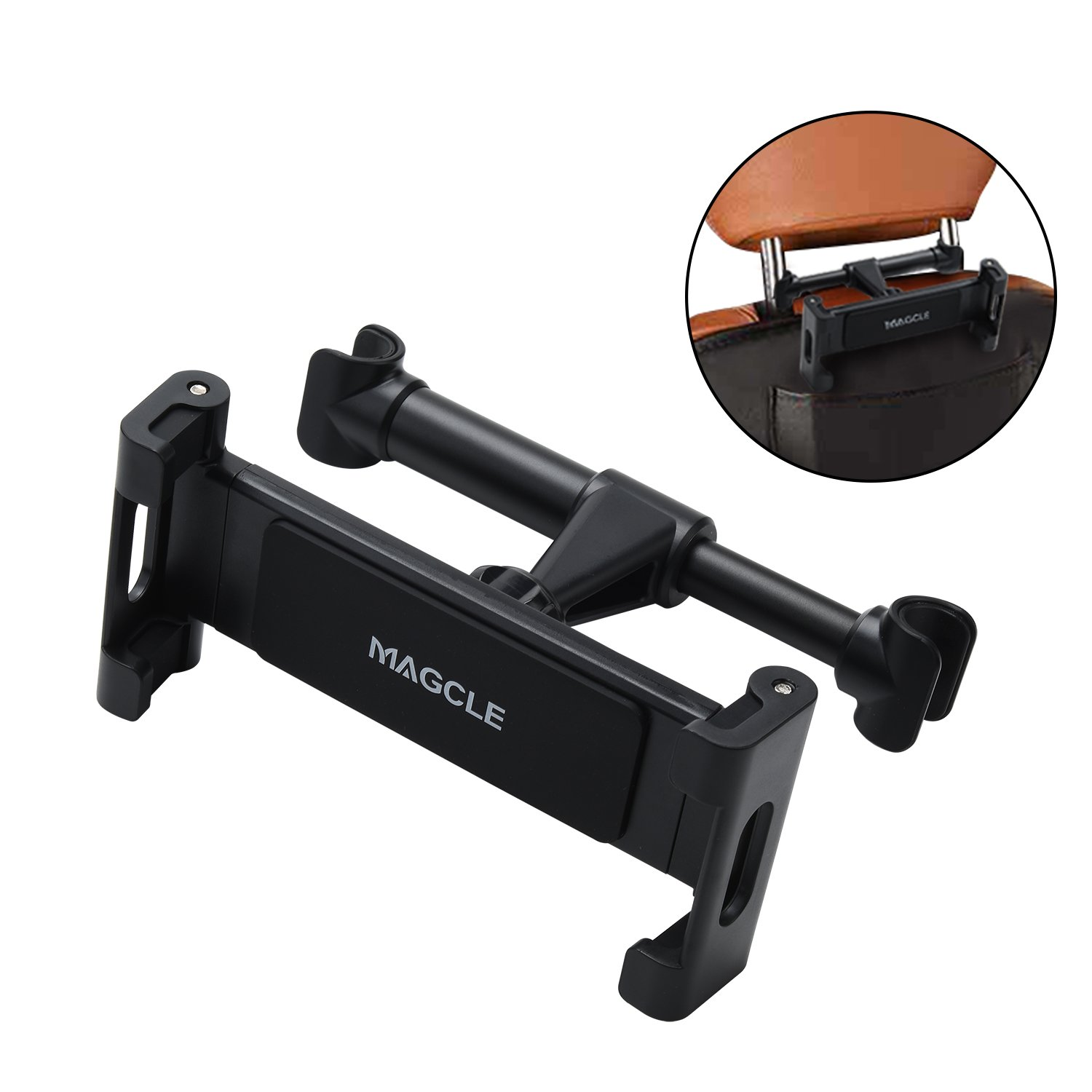Car Headrest iPad Mount, Magcle iPhone Holder,Back Seat Tablet Stand Cradle [Upgrade] for iPad Pro 9.7, 10.5, Air mini 2 3 4, Nintendo Switch E-reader,Smart Phone, Tablets (4.7~13 inch) (black) by Magcle (Image #1)