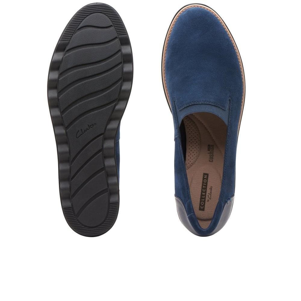 Clarks Wildleder Keilabsatz Rauchen Marine Slipper Loafer Schuhe Marine Rauchen Wildleder 5443b9