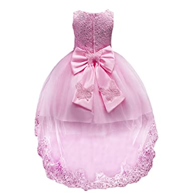 80d9cdab6f1 IBTOM CASTLE Kids Baby Flower Girl Bow Princess Dress for Girls Party  Wedding Bridesmaid High Low