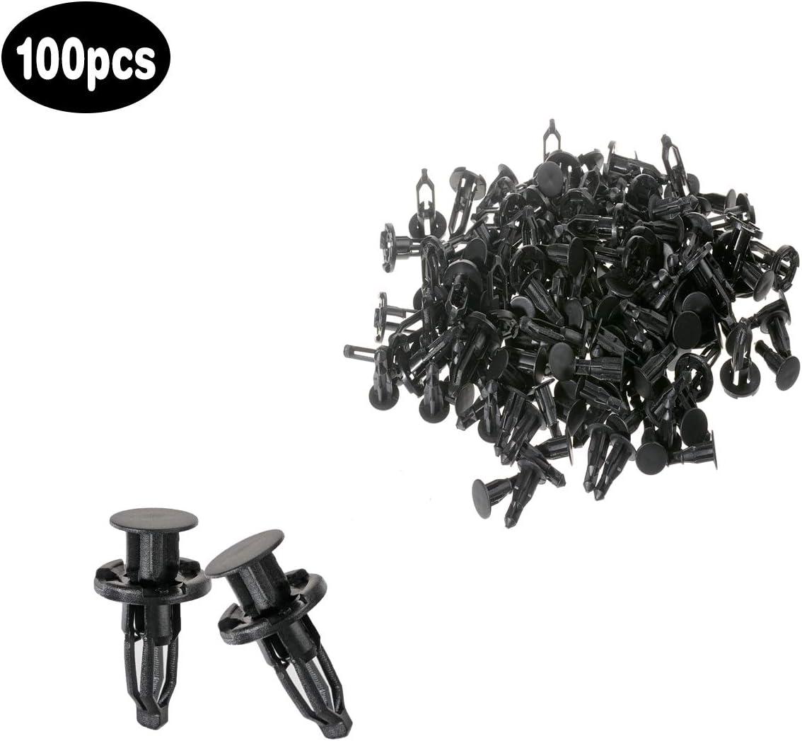 ZYHW Screws Rivets Replaceable Cars Aperture Fastener Door Plastic Nylon Black Push Clips 7mm Hole 100Pcs