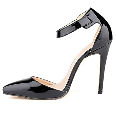 0ba88a286e7e ZriEy Women s Classy Ankle Strap Pointed Toe High Heel Pumps Shoes Black  Size 9.5