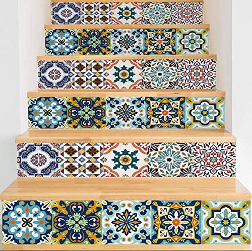 YIZUNNU Stair Step Decals Stickers Stair Riser Decals Peel and Stick Tile Backsplash Step Contact Paper DIY Tile Decals Staircase Decal Stair Mural Decals 7