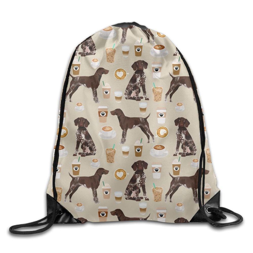 ドイツポインター犬コーヒープル文字列巾着バッグショッピングトートバッグ B079CVL3VX