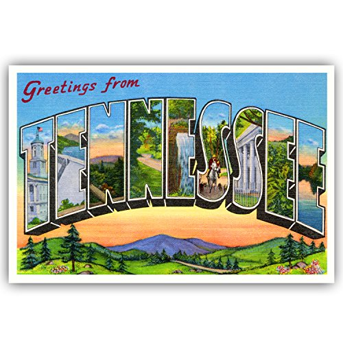 GREETINGS FROM TENNESSEE vintage reprint postcard set of 20 identical postcards. Large letter US state name post card pack (ca. 1930's-1940's). Made in USA.