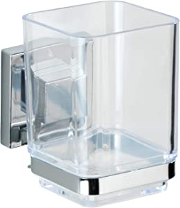 WENKO Vacuum-Loc Quadro Wall-Mounted Tumbler and Toothbrush Holder, No Drilling Required, Chrome