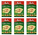 Melitta Cone Coffee Filter #2 100 Count- Natural Brown (Pack Of 6)