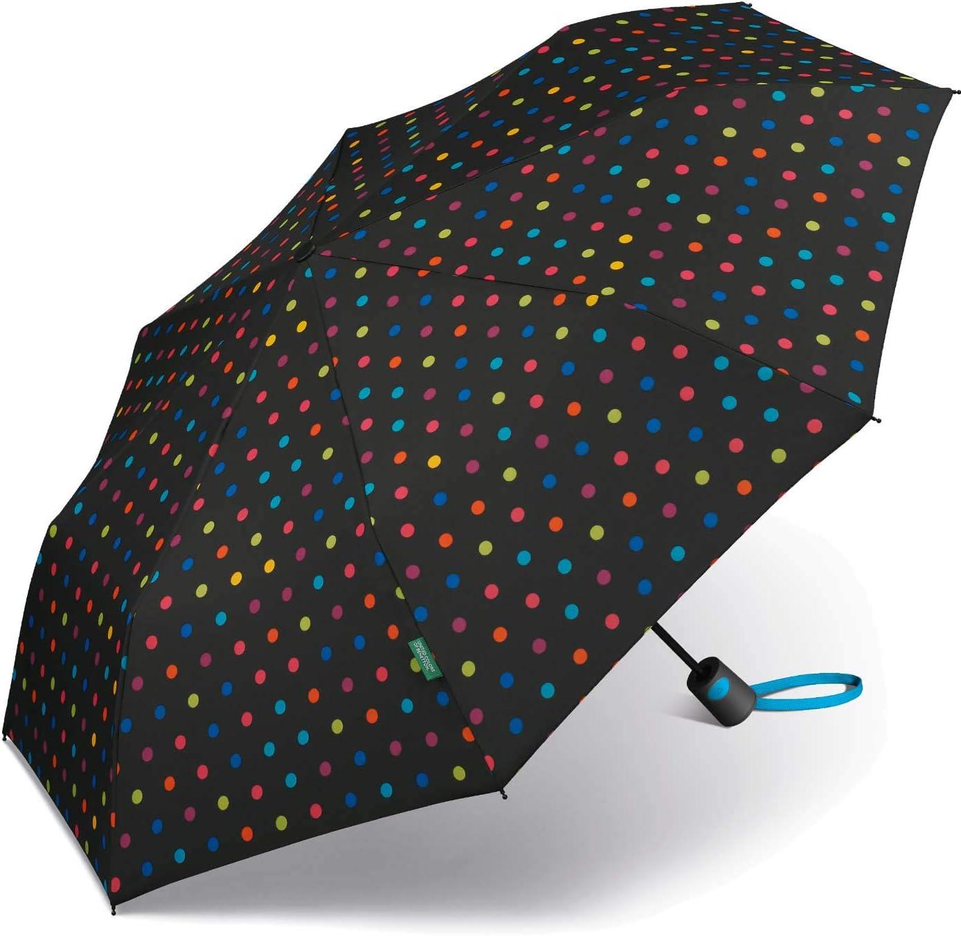 Paraguas Mini Mujer Autom/ático United Colors of Benetton Negro con Topos Multicolores 95 cm de di/ámetro. Ocho Varillas