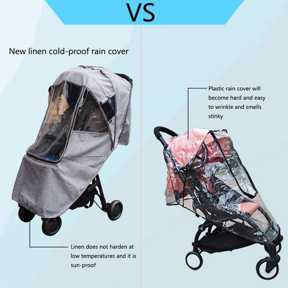 PER Gray Baby Stroller Rain Cover with Zipper Breathable Waterproof Windproof Sun Protection Universal Stroller/'s Accessory