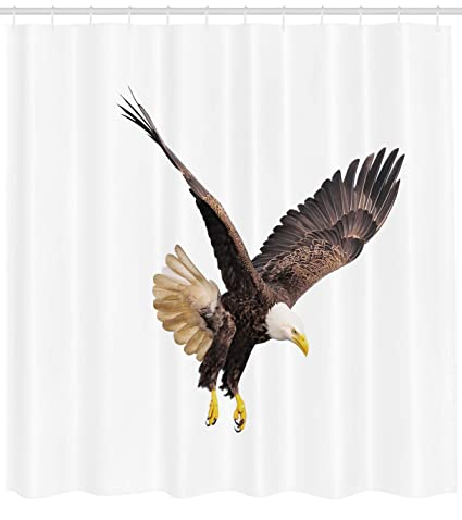 Ambesonne Eagle Shower Curtain Image Of A Hunter Flying Looking For Prey Predator Scenes From