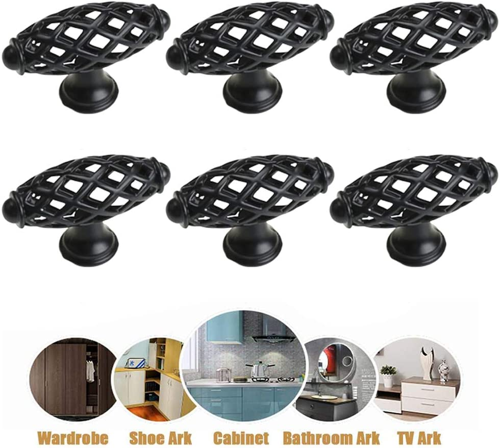 Set of 6 Black Zinc Alloy Drawer Handle for Wardrobe Dressing Table Yeah-hhi Vintage Cabinet Handle with Solid Base