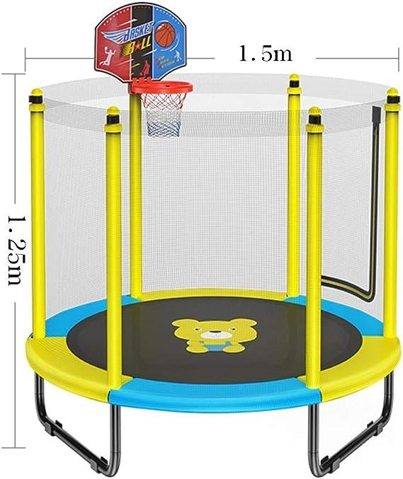 LSYOA Fitness Cama elástica Infantil, Interior/Exterior Trampolín de Jardín con Soporte de Baloncesto y Red de Seguridad Rebounder Trampolín de Carga 250kg,Yellow: Amazon.es: Hogar