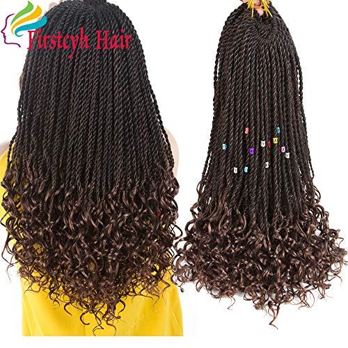Goddess Senegal Twist Crochet Hair Curly Ends Synthetic Braiding Braids Hair High Temperature Kanekalon Ombre Hair Extensions 6Packs 30Strands/Pack (18, T1B/30)