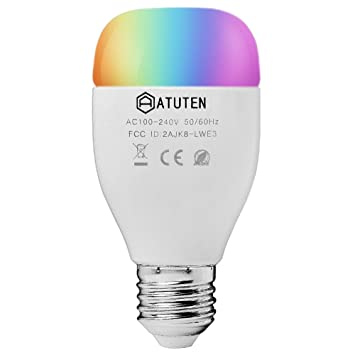 Smart Wifi - Bombilla LED E27 6W Compatible con Amazon Alexa, ajustable, multicolor, regulable, no requiere hub mando a distancia por iOS y Android: ...
