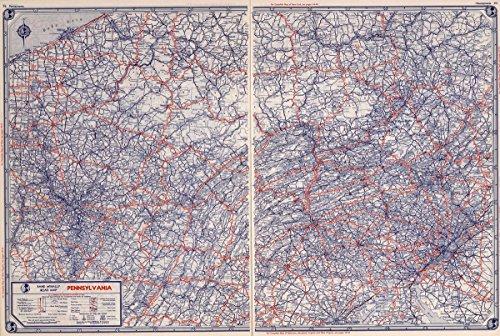 National Atlas | 1939 Rand McNally Road map: Pennsylvania | Historic Antique Vintage Reprint -