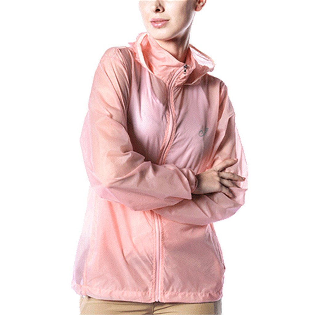 Kuer Unisex Nylon Ultrathin Breathable Waterproof Sports Windbreaker Skin Coat(Pink,S)