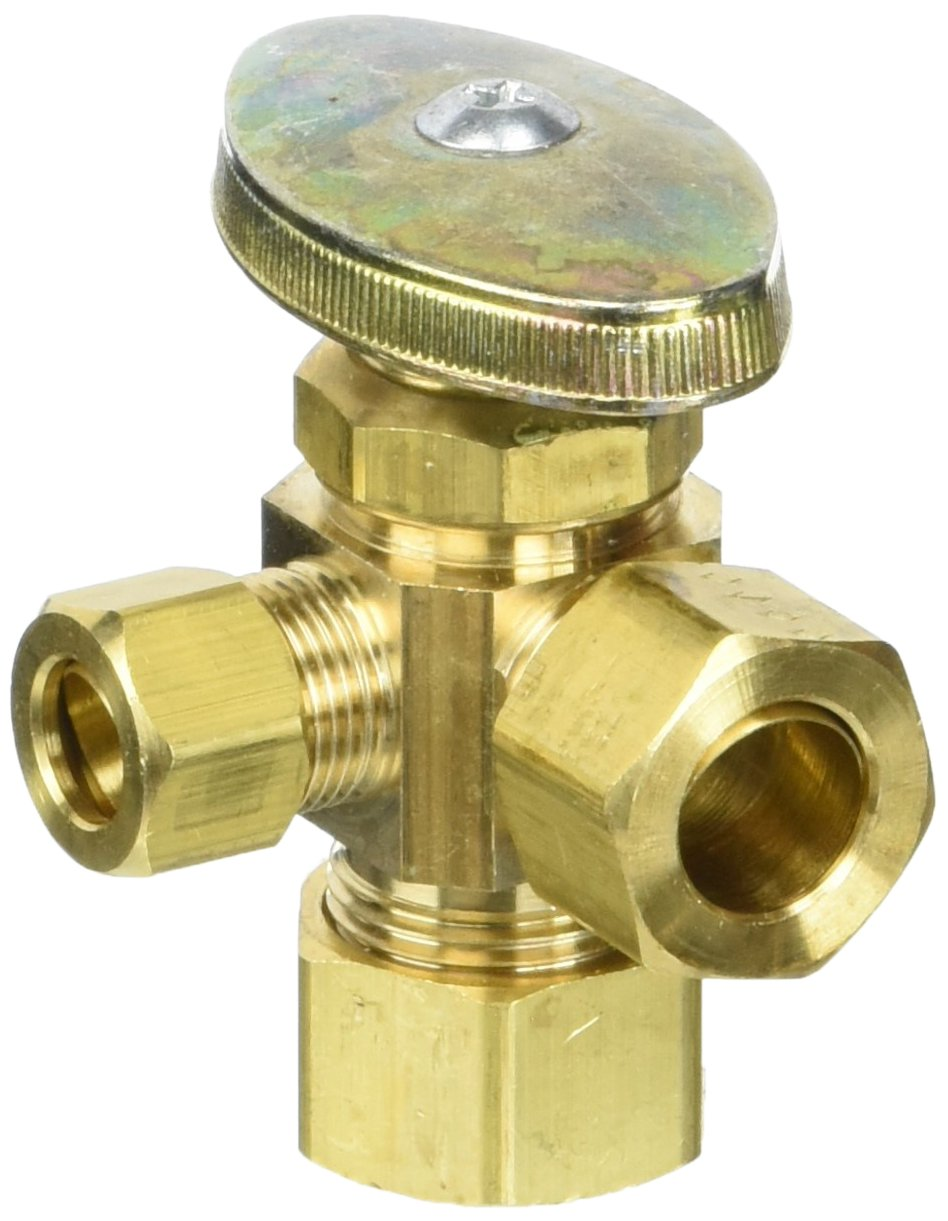 BRASSCRAFT GIDDS-134245 3-Way Dual Angle Stop Valve 1/2'' Nominal Comp x 1/2'' Od x 3/8'' Comp Right Rough Brass Lead Free