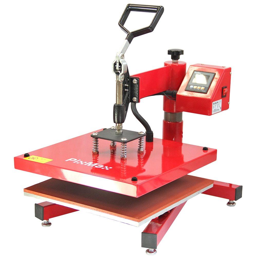 PixMax 10314 Swing Heat 38 x 38cm Sublimation Printing Vinyl Transfer Pressing Machine, Red