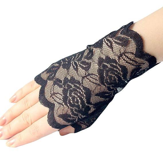 6dd512dc3d0113 Handschuhe Spitze Hochzeit Damen Mädchen Fingerlose Sonnenschutz  Spitzenhandschuhe Vintage Brauthandtuche XXYsm Schwarz