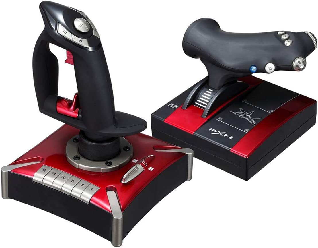 QKa Sistema de Control de Vuelo, Flying Games Joystick Handle Ambas Manos Flight Rocker Flight Simulator Gamepad, Joypad Controlador de Juegos de computadora con Tacto Suave