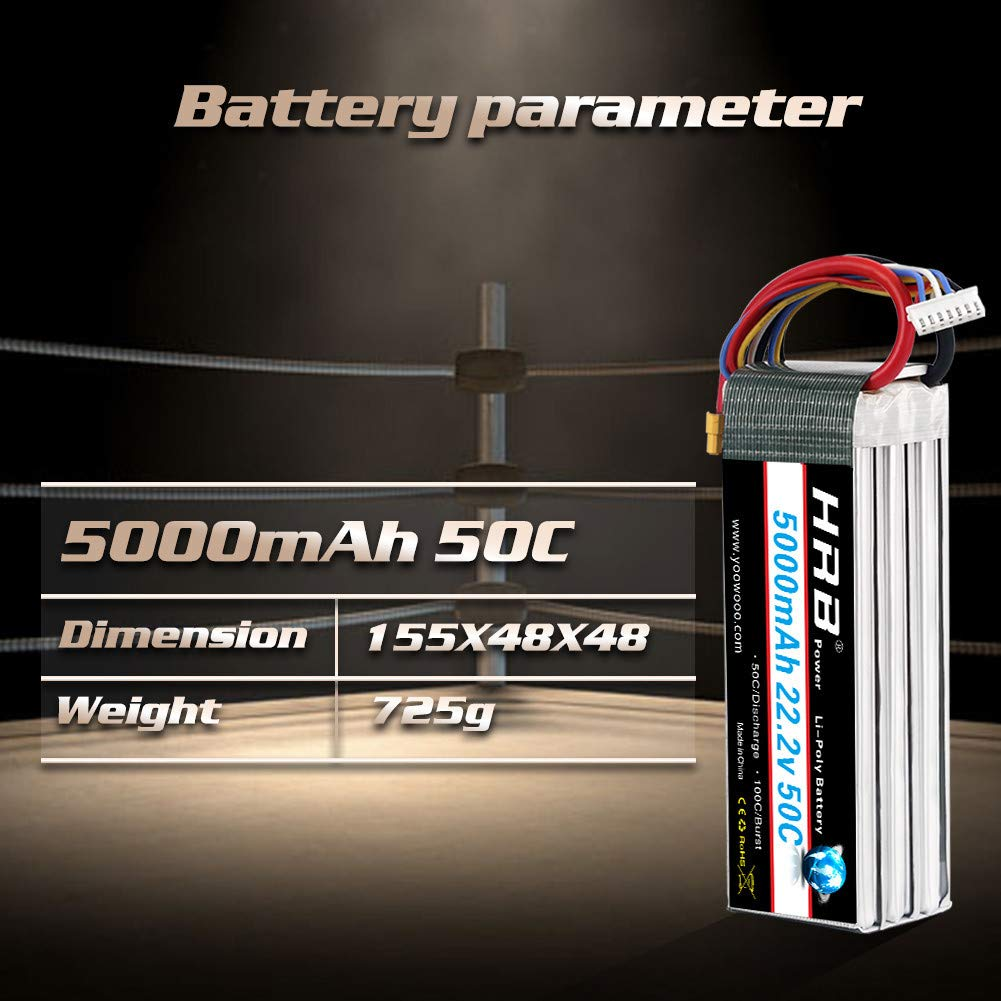 HRB 5000mAh 22.2v 6S 50C XT90 bater/ía Recargable Pila Pol/ímero de Litio Juguete Helic/ópteros y Aviones m/ás Peque/ños como Align GAUI KDS ElyQ Trex-550//600