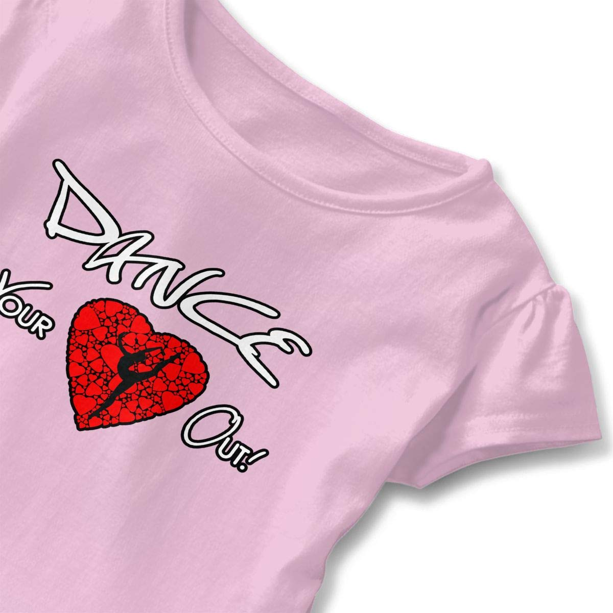 Dance Your Heart Out Toddler Baby Girls Cotton Ruffle Short Sleeve Top Comfortable T-Shirt 2-6T