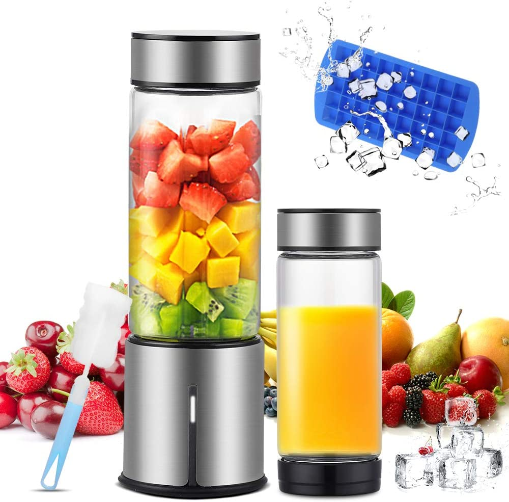 KACSOO Portable Blender for Smoothie and Shakes, 2 Lids Personal Blender USB Rechargeable Cordless 15 OZ Small Mixer Glass Fruit Juicer Cup Single Serve Blender for Travel on the go(BPA FREE)