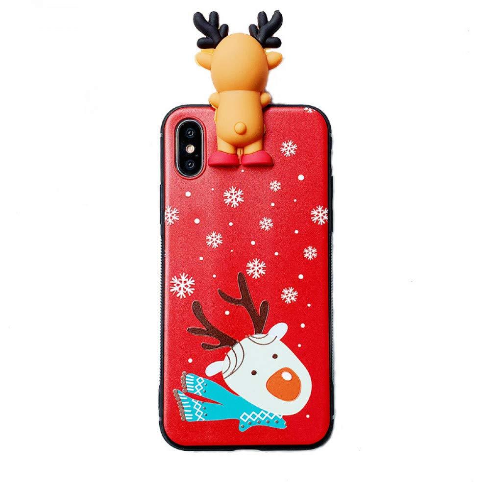 ERQINGT Etui pour Téléphone Portable Poupée De Noël pour Iphone6S Coque De Téléphone Portable 8Plus / 7P Cartoon Elk Apple XS Max Soft Shell 6P Femme Mignonne