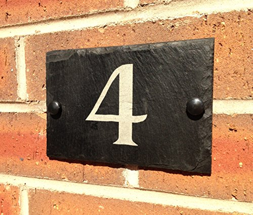 Slate House Sign Address Door Number House Plaque 10x15cms, 4 inch x 6 inch by Slateworks
