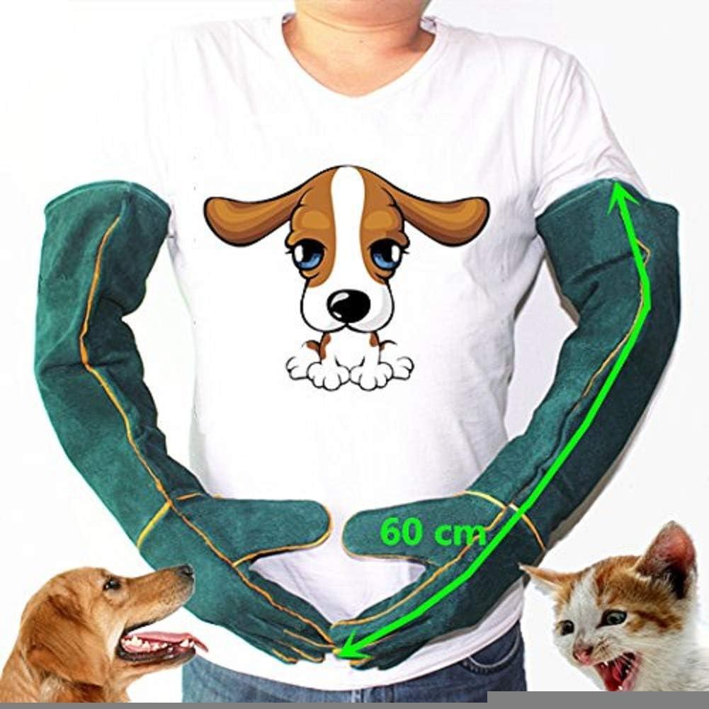 MASUNN Anti-Mordidas Seguridad Mordedura Guantes Ultra Largo Cuero Verde Mascotas Agarrar Morder Guantes De Protección para Captura Perro Gato Reptil Animal