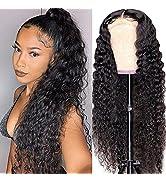 Water Wave Lace Front Wig Human Hair Wigs for Black Women, 150% Density Brazilian Wet and Wavy La...