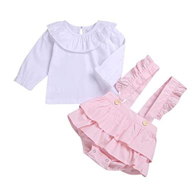 e4ddad32e Christmas Toddler Baby Girl Outfits Star Ruffle Long Sleeve T-Shirt Tops + Strap  Suspender