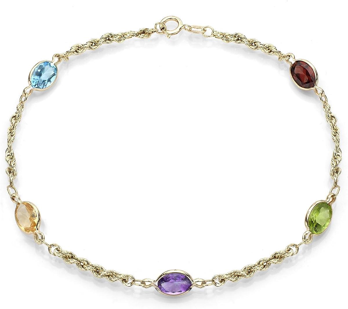 14K White Gold Multi-Colored Gemstone Bracelet 7.25 Inches