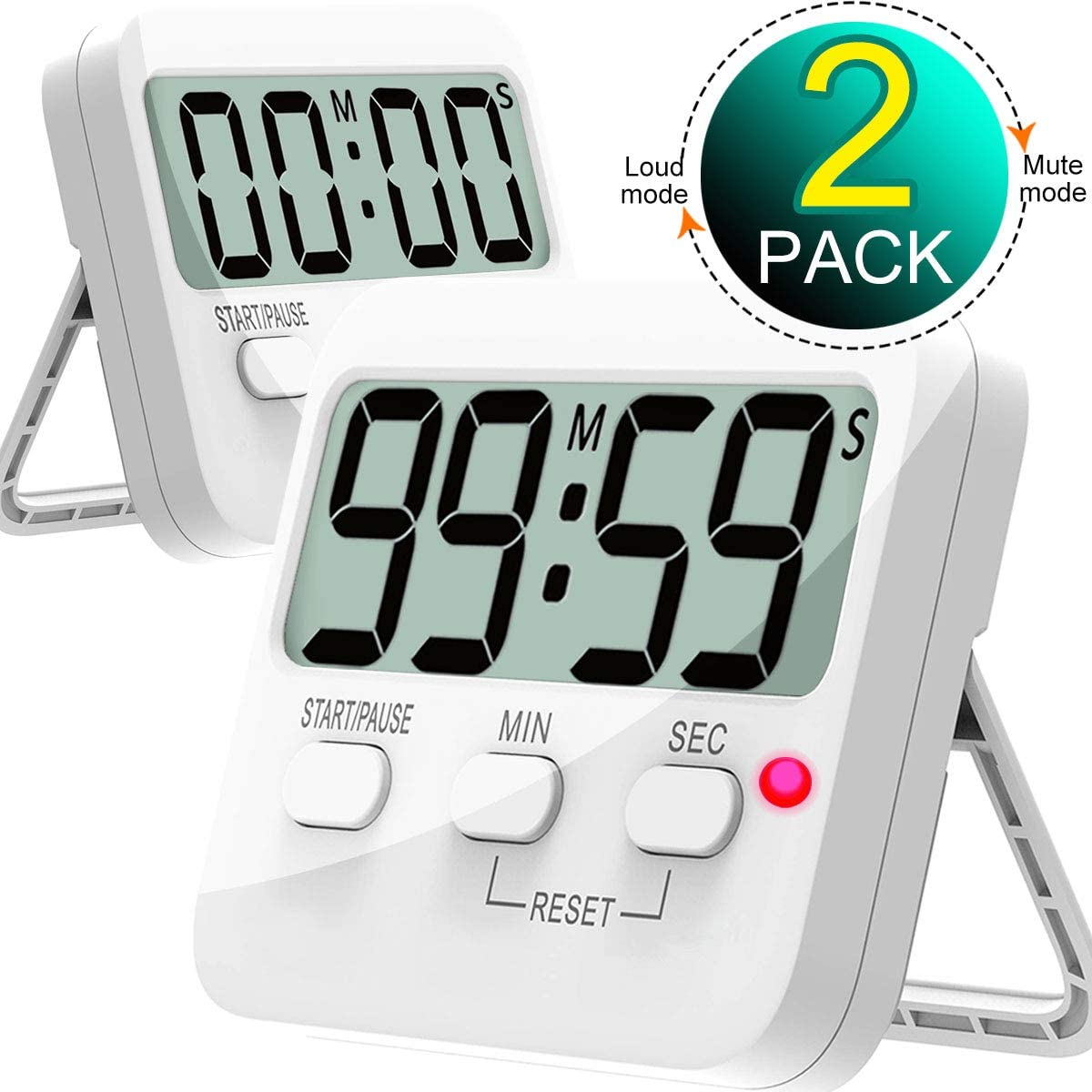 Kitchen Timer, Cbiumpro 2 Pack Digital Countdown Timers with Loud Alarm, Mute Mode, Auto-off, Magnetic Back, Big Digits for Kitchen, Classroom, Office, Bathroom, Teacher, Kids - Battery Included