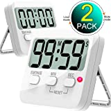 Kitchen Timer, Cbiumpro 2 Pack Digital Countdown Timers with Loud Alarm, Mute Mode, Auto-off, Magnetic Back, Big Digits for Kitchen, Office, Bathroom, Classroom, Teacher, Kids - Battery Included