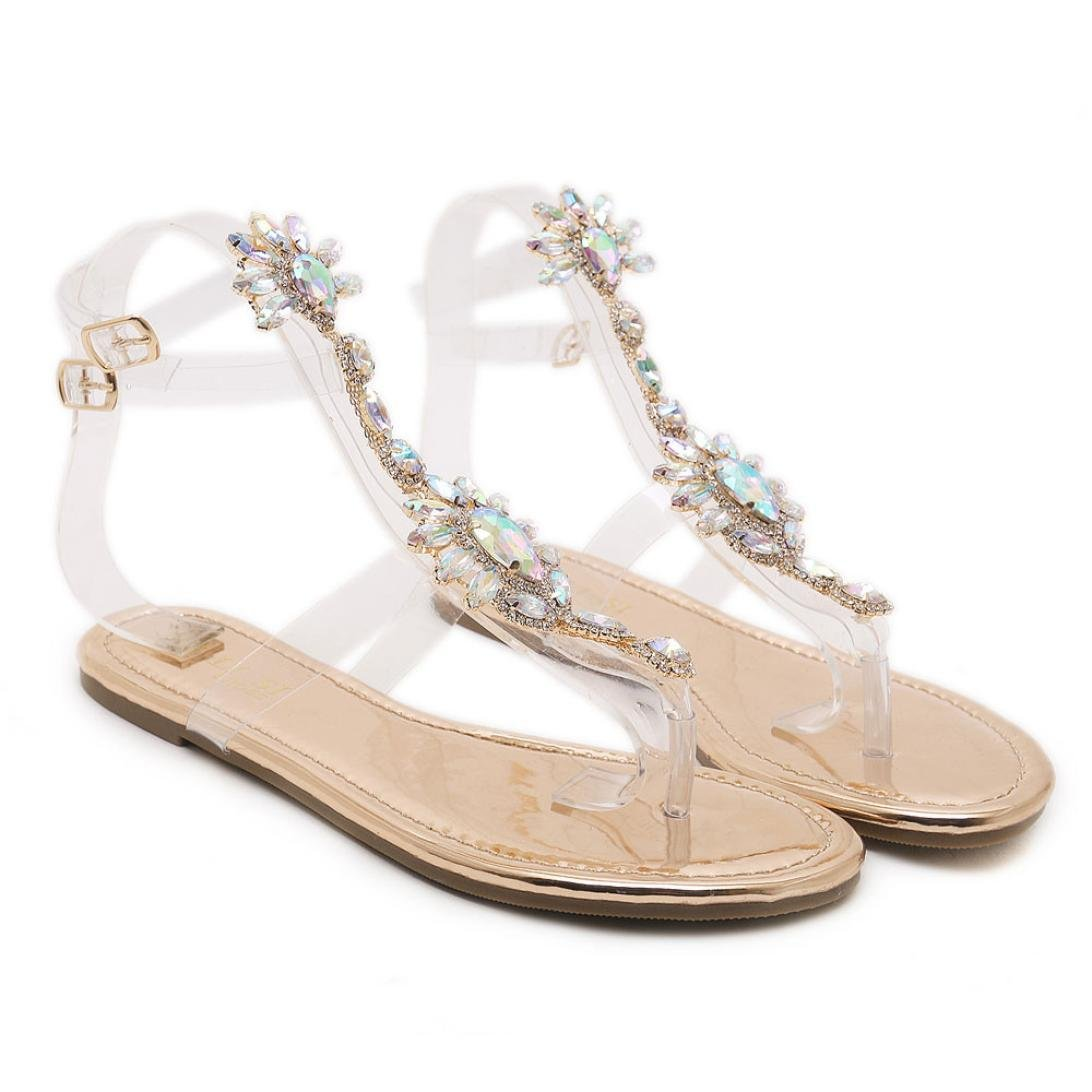 Baigoods Summer Woman Sandals Rhinestones Transparent Chains Ankle Strap T-strap Comfortable Flat Crystal Fairy Sandals (US:5, Rose Gold)