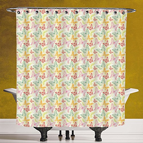 Stylish Shower Curtain 3.0 [Butterfly,Hand Drawn Animal Silhouettes Spring Season Surreal Forest Inhabitants Vintage Decorative,Multicolor] Polyester Fabric Bathroom Shower (Target Halloween Hand Towels)