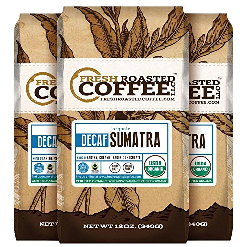 Organic Sumatra Water Decaf Coffee, 12 oz. Ground Bags, Fair Trade, Mountain Water Processed, Fresh Roasted Coffee LLC. (3 Pack) - Roasted Ground