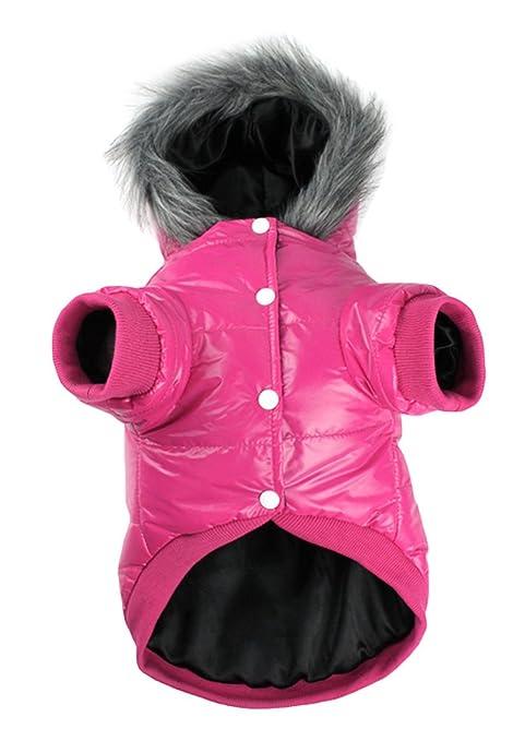 La vogue Ropa de Perros Mascotas Abrigo Algodón Caliente Invierno con Capucha Rosa Small