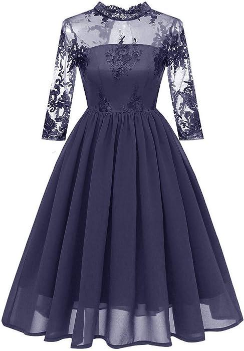 c50c2e75dd768 KELUOSI Robe de Demoiselle d'honneur Femme Tulle Brodé Col Montant Slim Robe  de Soirée