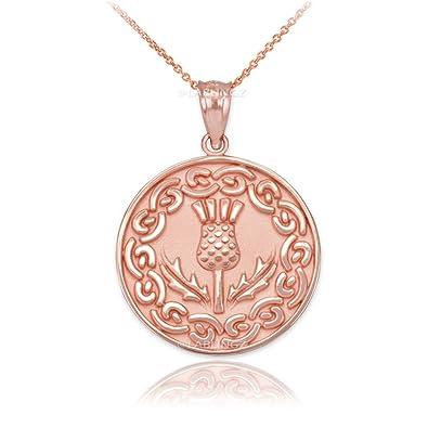 Amazoncom 10K Rose Gold Scottish Thistle Flower Medallion Pendant