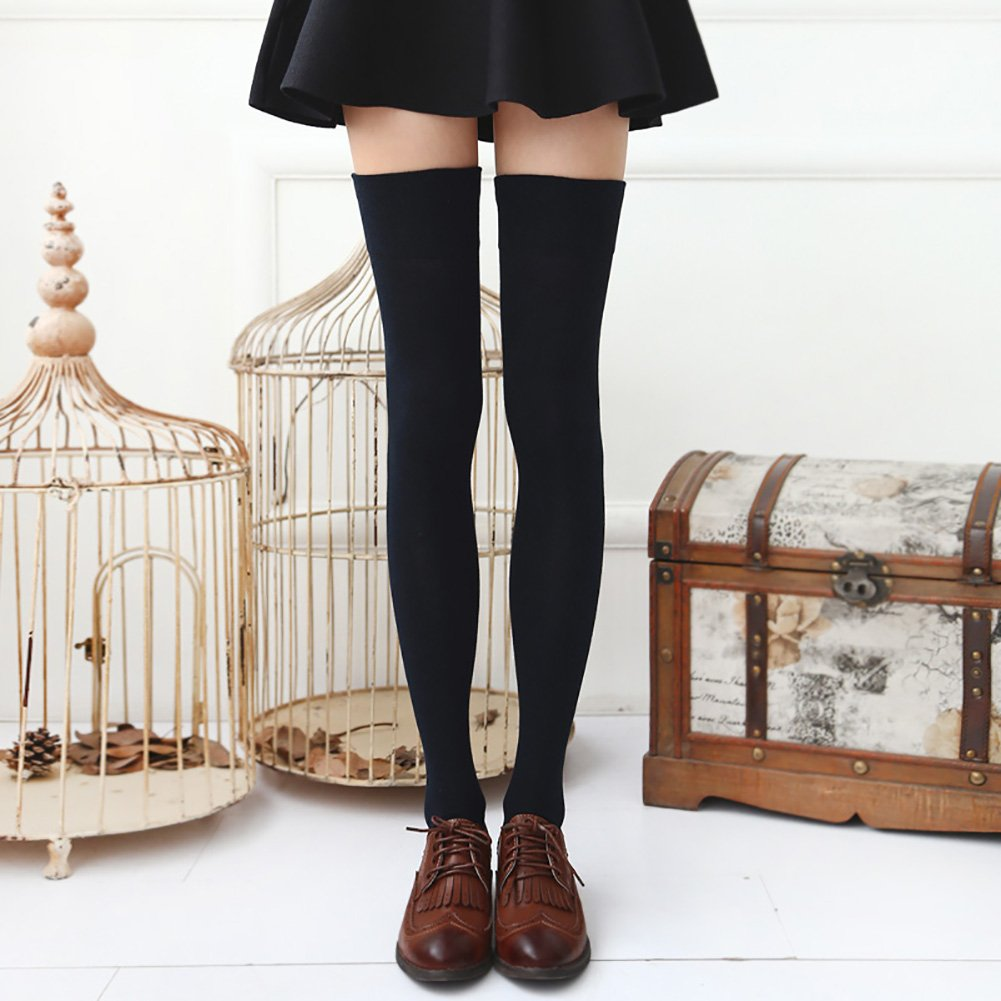 Chalier 3 Pairs Womens Long Socks Over Knee Stockings, White, Gray, Black, OS by Chalier (Image #4)