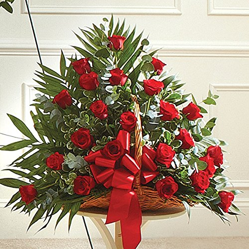 Rose Sympathy Gift Basket - PlantShed - Red Rose Fireside Basket - Flower Hand Delivery in NYC Local Manhattan Florist