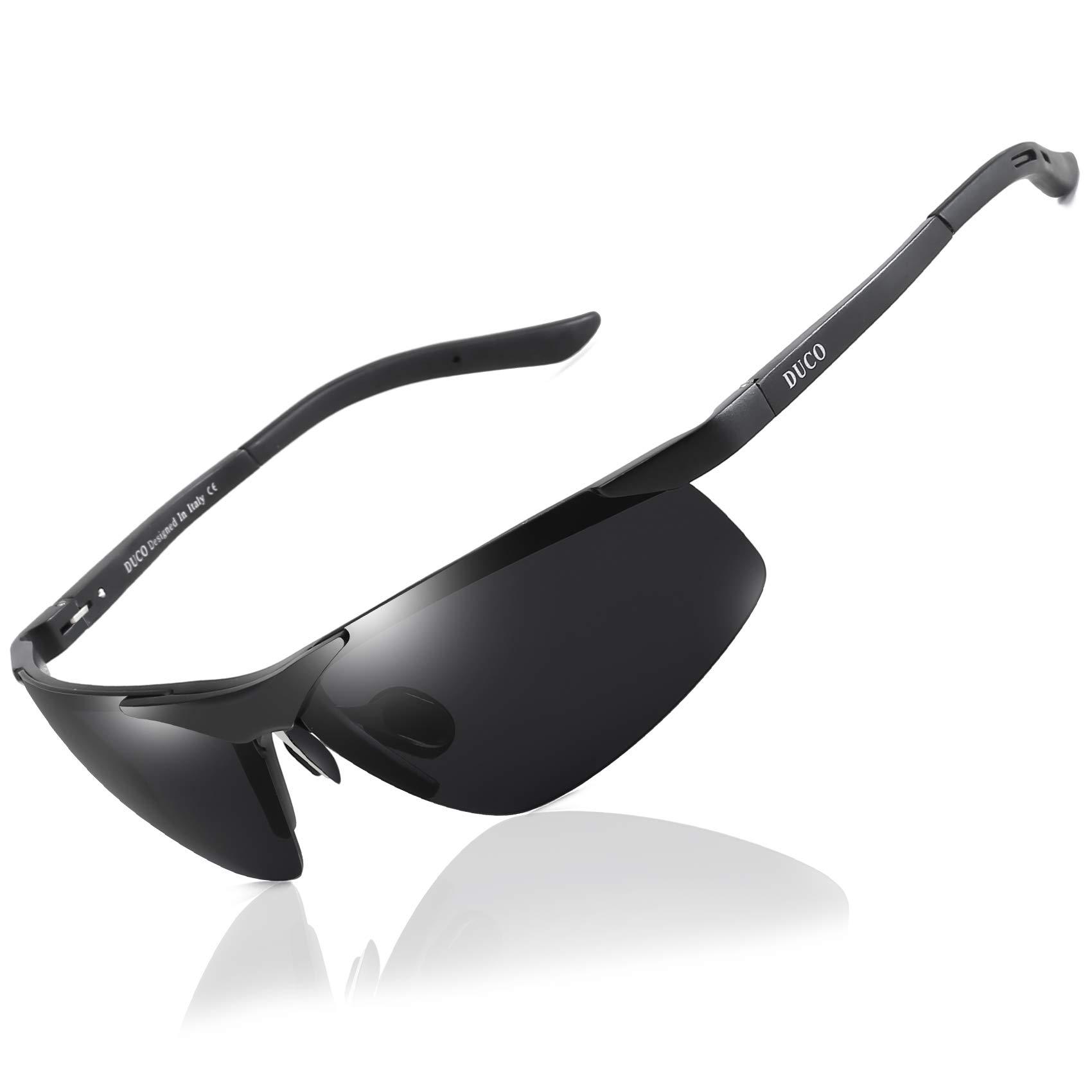 Duco Men's Sports Style Polarized Sunglasses Driver Glasses 6806S (Black Frame Gray Lens) by DUCO