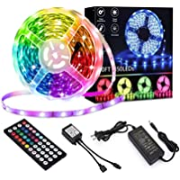 50ft/15M LED Strip Lights Kit,5050 SMD RGB Flexible Non-Waterproof LED Tape Lights with DC24V Power Supply 44Key IR…