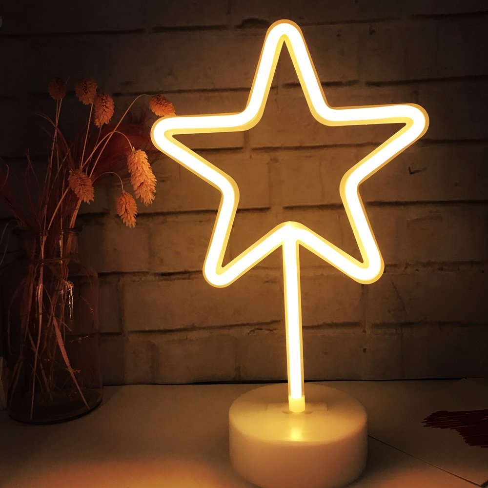 Wedding Party Decor Neon Light,LED Star Sign Shaped Decor Light,Wall Decor for Christmas,Birthday Party,Kids Room Warm White Living Room