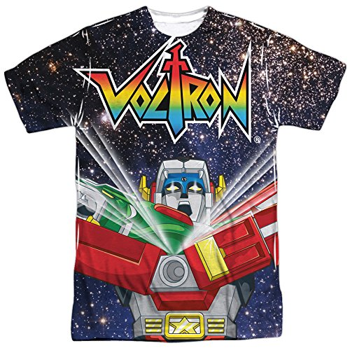 Trevco Men's Voltron Double Sided Print Sublimated T-Shirt, Defenders White, Medium