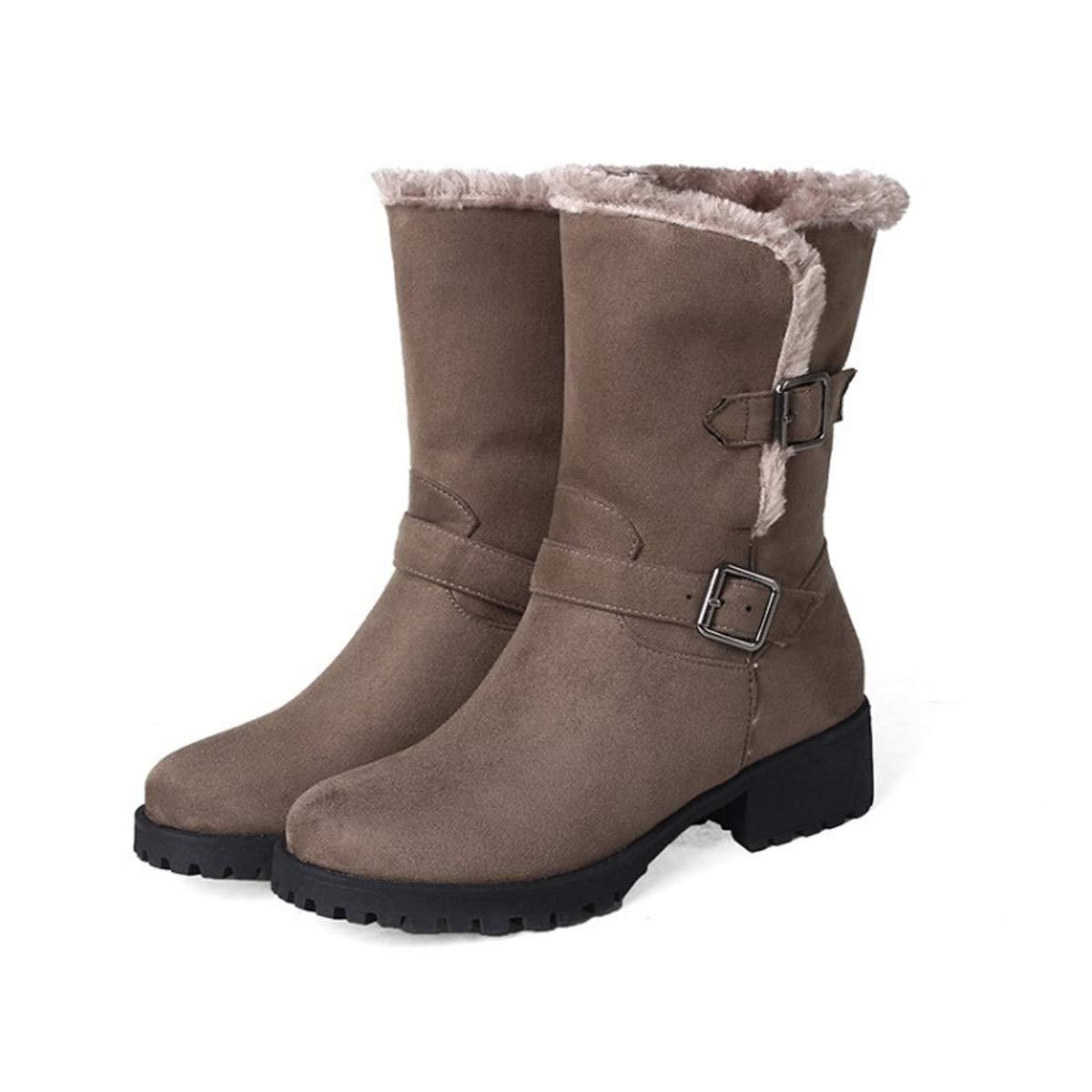 B 36EU DANDANJIE Les Les dames Martin Bottes Femmes Hiver Chaud Linned mi Mollet Cheville Boucle Chaussures Bottes Taille,A,41EU