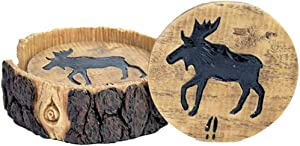 Moose Decor Wood and Log Look Coasters Set of 4