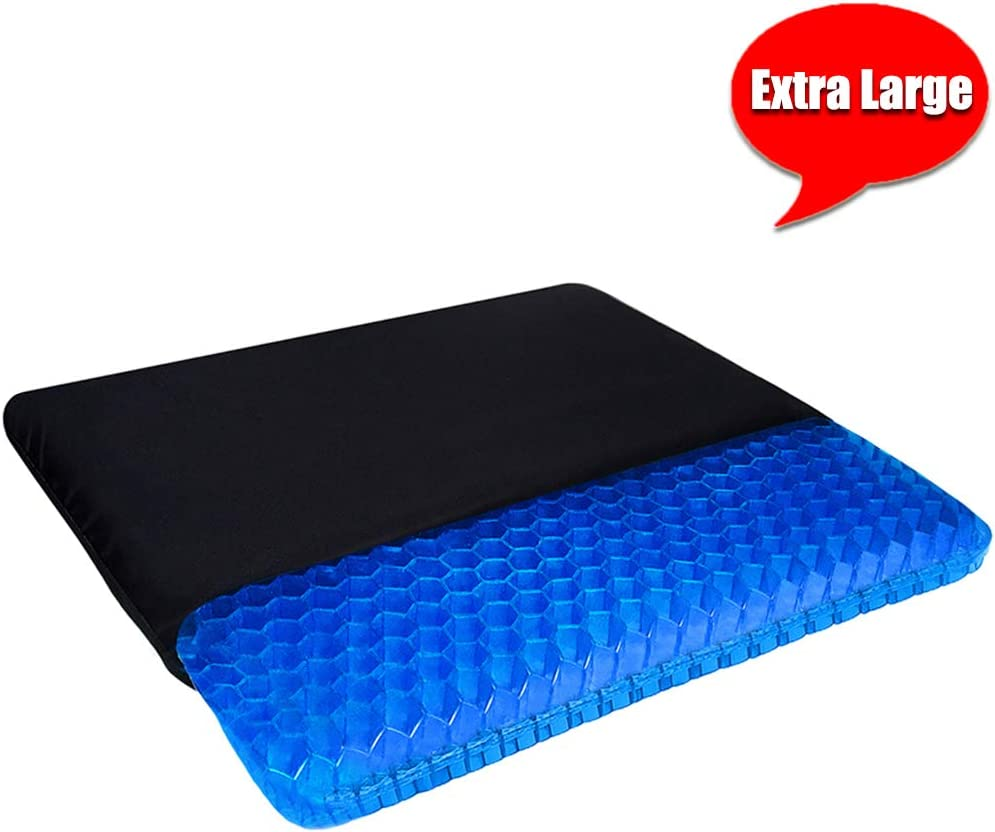 Extra Large Gel Seat Cushion, 17.5x17.5inch Double Thick Egg Gel Cushion for Pressure Pain Relief, Breathable Wheelchair Cushion Chair Pads for Car Seat Office Chair