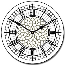 Big Ben White Wall Clock, Available in 8 sizes, Most Sizes Ship 2 - 3 days, Whisper Quiet.